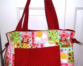 Custom Quilted Strawberry Shortcake Baby Diaper Bag plus Free Shipping