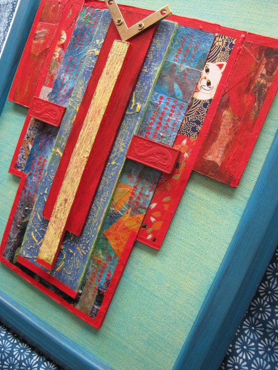 Upcycled Kimono with Dragon Blocks -  Framed Mixed Media Original Art - One of a Kind