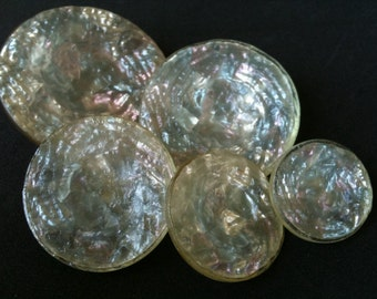 Beautiful Vintage Iridescent Confetti Lucite Buttons ~ Set Of Five Matching Buttons ~ Big To Small