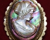 Antique Abalone Carved Shell Cameo Pendant