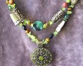 Gorgeous Semi Precious Gemstone Beadwork Bib Necklace Green & Brown Fall Earth Tones: Ruby Zosite, Crab Agate, Tiger Eye