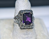 SALE Antique Square Faceted Amethyst Sterling Silver Victorian Revival Filigree Ring