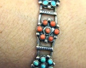 Vintage Native American Turquoise & Coral Sterling Silver Petit Point Old Pawn Cuff Bracelet