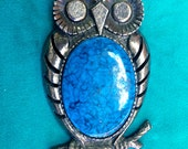 Vintage Art's and Craft Silver Pot Metal Chunky Owl Jelly Belly Necklace