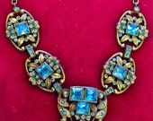 Unbelievable Antique Edwardian Cast Brass Bronze Czech Aquamarine Square Crystal Chevron Necklace