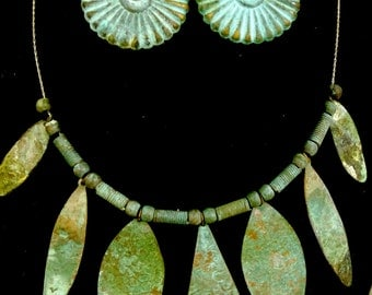 Antique Copper & Sterling Necklace, Earrings Parure with Gorgeous Green Patina: Modernist RARE