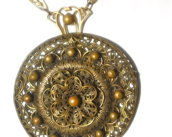 Gorgeous Antique Steampunk Victorian Brass Filigree Czechoslovakian Large Pendant Lavaliere Necklace