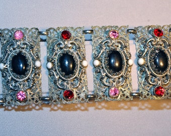 Selro Selini Silver Filigree, Onyx, Ruby Red & Pink Crystal Chunky Bracelet