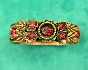Embossed Art Nouveau Brass Hinged Bangle Bracelet with Ruby Red Czech Crystal & Art Glass