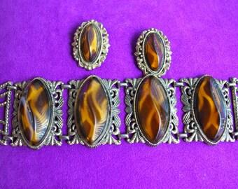Chunky Tortoiseshell Art Nouveau Open Work Wide Bracelet & Earrings Set