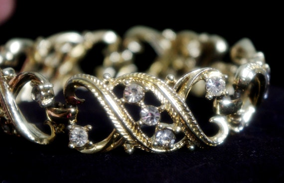 Clearance STAR Gold Art Deco Nouveau Filigree Crystal Vintage Bracelet