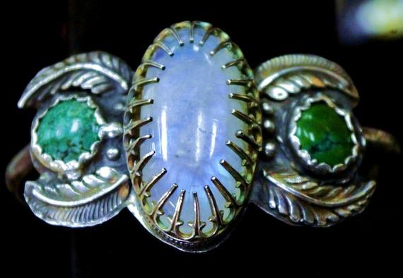 Sterling Silver, Moonstone & Turquoise Cabochon Gallery Bezel Set Cherokee Norwegian Artisan Cuff Bracelet