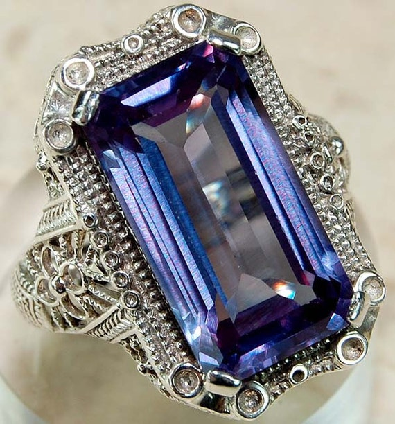SALE Antique Victorian 6ct Alexandrite Sterling Filigree Setting Art Nouveau Flower Design Ring Size 7