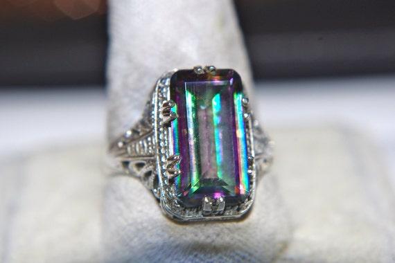 Victorian Filigree Huge Mystic Topaz Emerald Cut Sterling Silver 925 Ring