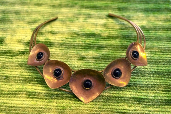 Vintage Artisan Sculpted Brass & Onyx Flower Chevron Choker Necklace