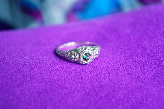 Gorgeous Victorian Revival Sterling Silver Filigree Ring with Mystic Topaz & Emerald Gemstones