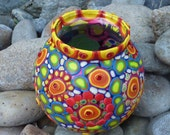 Rainbow Colored Clay Mosaic Quirky Happy Upcycled Glass Whatnot Bowl