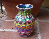 Clay Mosaic Glass Vase Multi Colored Multi Patterned