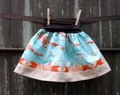 girls skirt - sophie's yoga-top - sparrows in aqua with orange & corduroy trim