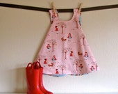 girls top / dress - piper jane's reversible pinafore - 18 - 24 mo, 2T, 3T, 4T or 5T - a walk in the woods