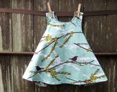 girls reversible dress / top - piper jane's pinafore - 6 - 9 months or 12 - 18 months - damask & sparrows