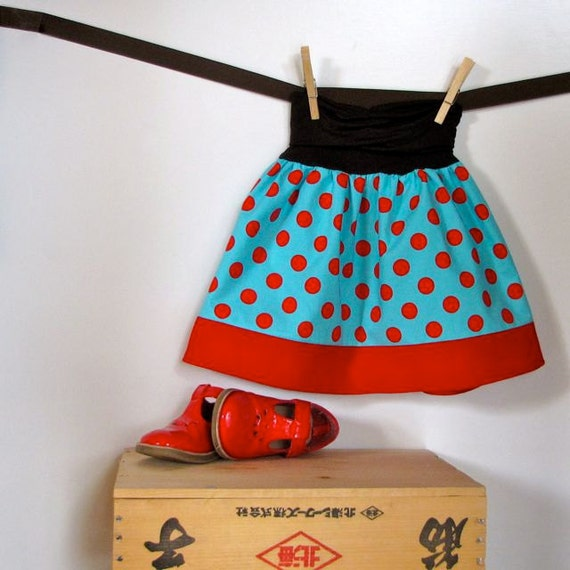 Reserved for Sienna,  size 4T/5T girls skirt - aqua, red polka dot & corduroy