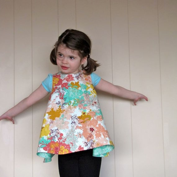 girls top / dress - piper jane's reversible pinafore - 18 - 24 mo, 2T, 3T, 4T or 5T - daydreaming