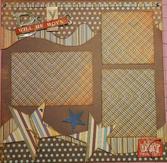 Boys Will Be Boys - 12x12 Premade 2 Page Scrapbook Layout