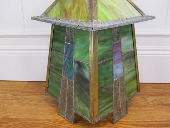 Arts and Crafts Stained Glass Ceiling Fixture 1924
