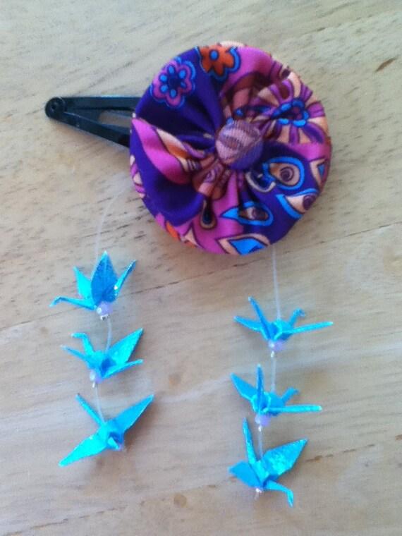 Fabric Flower with Origami Crane Hair Accessory / Geisha