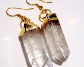 Clear Crystal Quartz Point Earrings
