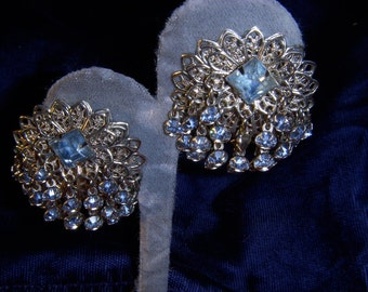 Vintage Silver Filigree Clip Earrings with Blue Ice Crystals