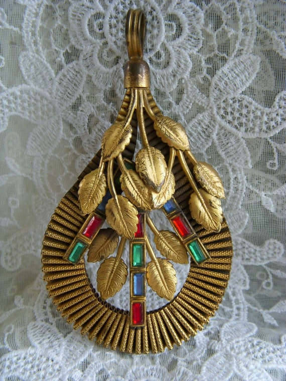 "Large Stunnning Antique Pendant with Colored Rhinestone Baguettes 4.50"" long"
