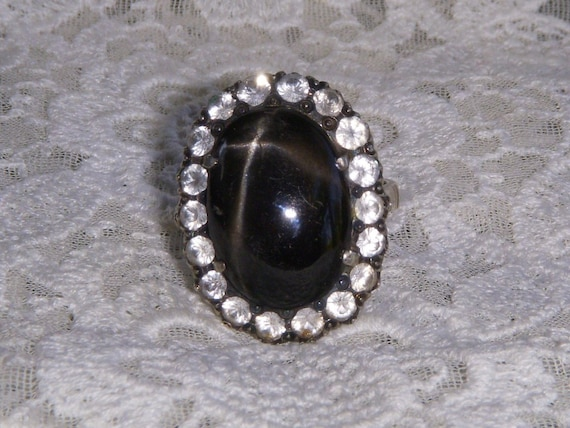 Vintage Silver Black Star of India Diopside Ring with Crystals   FREE SHIP