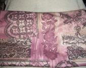 Vintage Pink & Gray Polyester Fabric Yardage