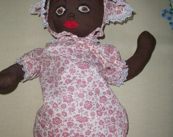 Vintage Cloth Black Baby Doll: Comes with Dress, Bonnet, Panties & Shoes