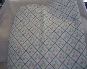 Cotton Pastel Tulip Fabric in Pink, Blue & Green: Flowerpatch