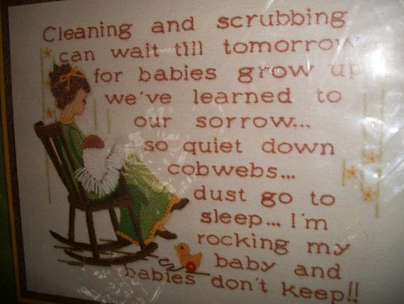 Vintage 1977 Sunset Crewel Kit Babies Don't Keep