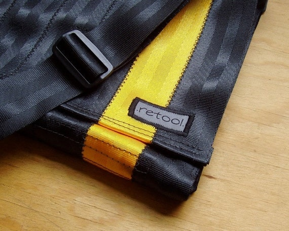 Seatbelt Messenger Bag in Black and Gold