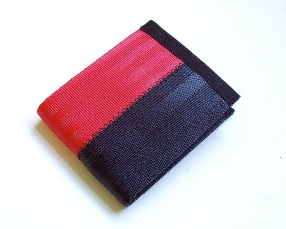 Eco friendly seatbelt wallet in red and black