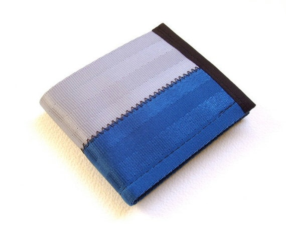 Eco-friendly vegan wallet - blue and silver seatbelt wallet