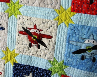"Applique Plane Baby Quilt PDF Pattern, 6"" Block, Instant Download"