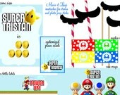 Super Mario Brothers Party, MEGA DIY Printable Decor Pack, Complete Decoration Set with Favors Tags