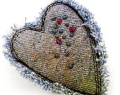 Heart Pin Pendant Brooch Recycled Denim Jewelry