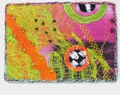 ACEO Art Card - Mixed Media Orange Green Pink