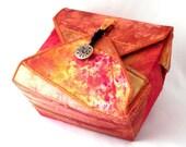 Fabric Box, Tangerine Orange, Handmade Box