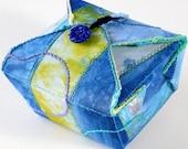 Fabric Box, Sky Blue, Green, Handmade