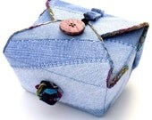 Fabric Box, Blue Denim, Recycled Upcycled