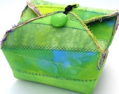 Handmade Fabric Box, Bright Lime Green