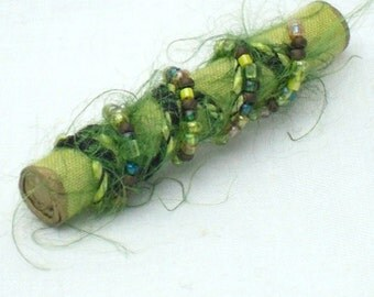 Beaded Jewelry, Mixed Media Brooch Lime Green
